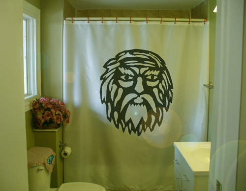 Printed Shower Curtain sorceror beard wizard magic sorcery mage