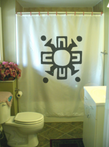 Printed Shower Curtain southwest sun tribal solar symbol native