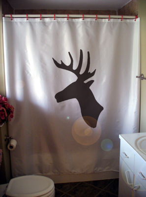 Shower Curtain stag head deer wall mount profile trophy