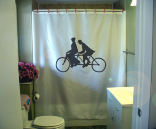 Printed Shower Curtain tandem bicycle bike vintage two rider