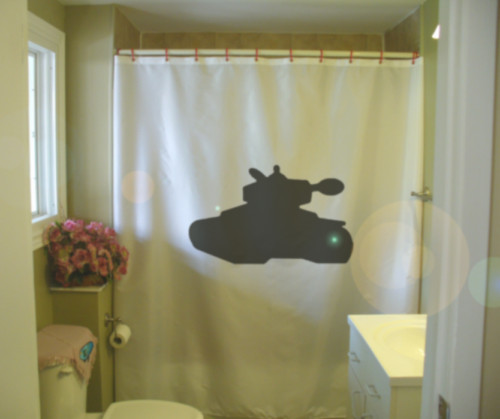 Shower Curtain tank war track armor vehicle turret gun