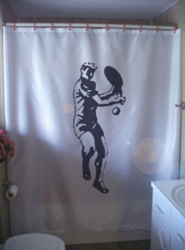 Printed Shower Curtain tennis player game set match back hander