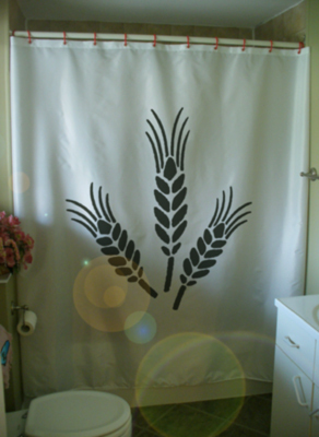 Printed Shower Curtain three sheaves corn wheat black harvest