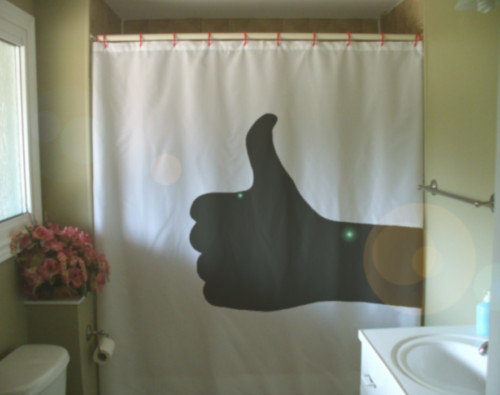 Shower Curtain thumbs up hand gesture good thumb greet
