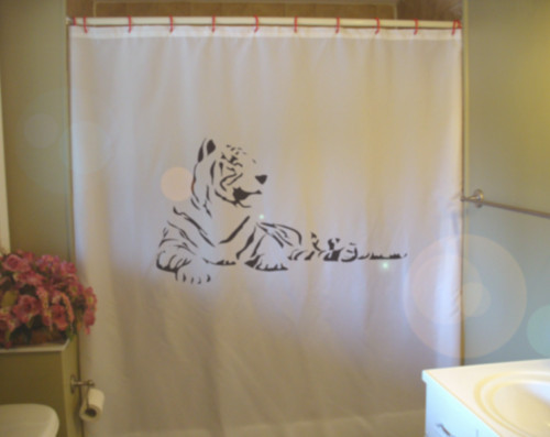 Printed Shower Curtain tiger resting chinese zodiac year cat new year
