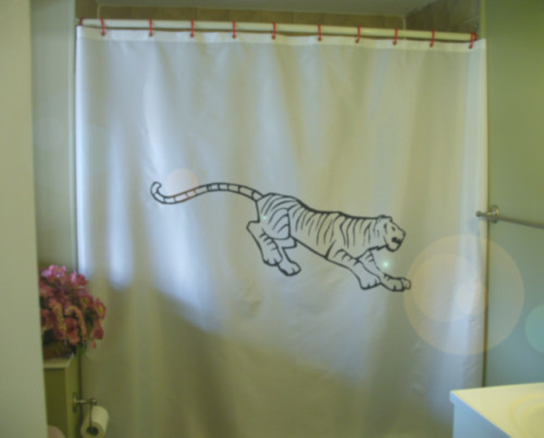 Printed Shower Curtain tiger running happy chinese new year big cat