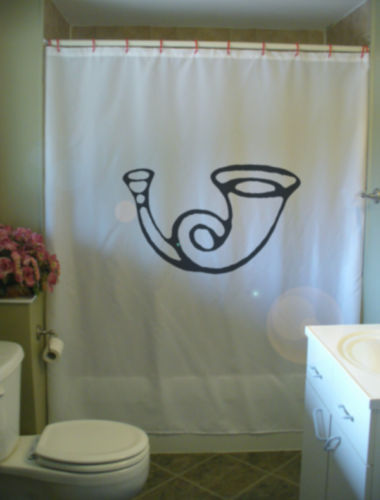 Shower Curtain toot your horn child instrument drawing