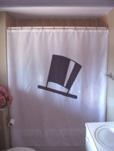 Shower Curtain top hat silk chimney pot stove pipe tall
