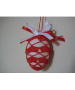"Vintage Easter Egg Decor ornament crochet 2.5""x2"" red pattern w/ red whi... - $9.95"