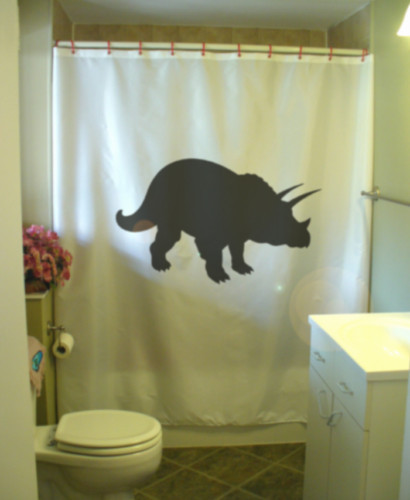 Shower Curtain triceratops dinosaur frill 3 horns three