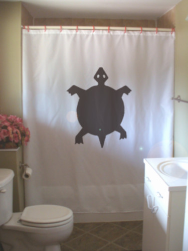 Shower Curtain turtle native rock art shell reptile pet