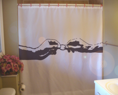 Printed Shower Curtain two gay men condom hand of god safe sex