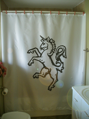 Printed Shower Curtain unicorn rearing mythical magic creature