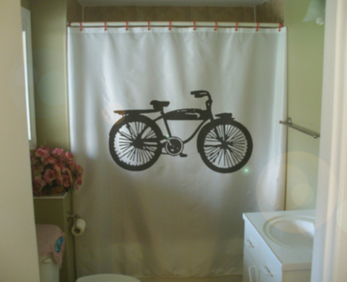 Printed Shower Curtain old fashioned bicycle bike antique seat pedal cycling