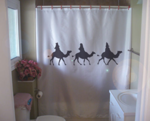 Shower Curtain we three kings wise men christmas camels