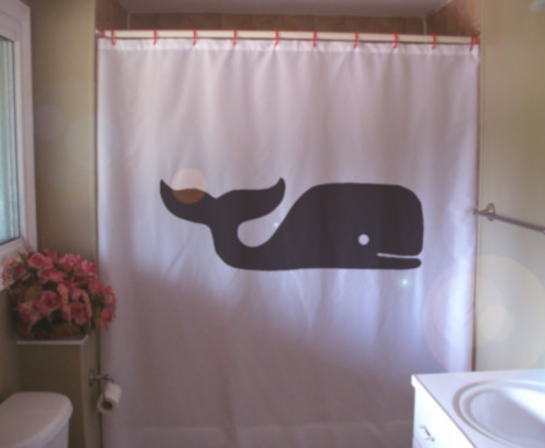 Shower Curtain whale cartoon style hump back sea mammal