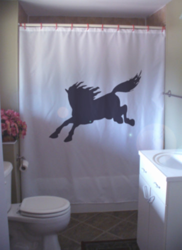 Shower Curtain wild horse gallop run mane tail wind