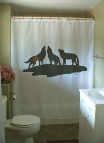 Printed Shower Curtain wolf pack baying bay howl hunt kill prey