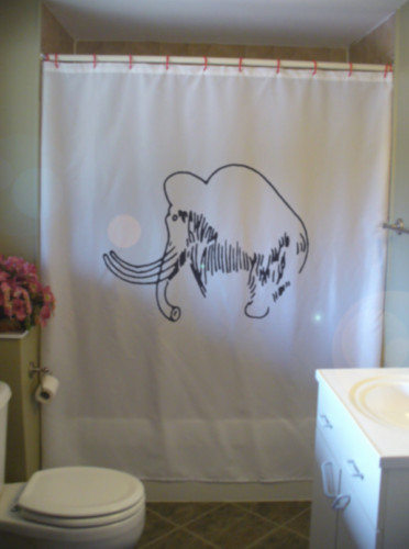 Printed Shower Curtain woolly mammoth ice age cave art ancient