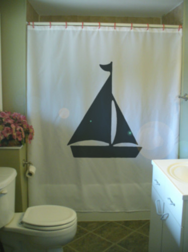 Shower Curtain yacht sail boat sails flag mast pole sea