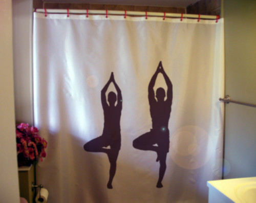 Shower Curtain yoga duo couple balance health fitness