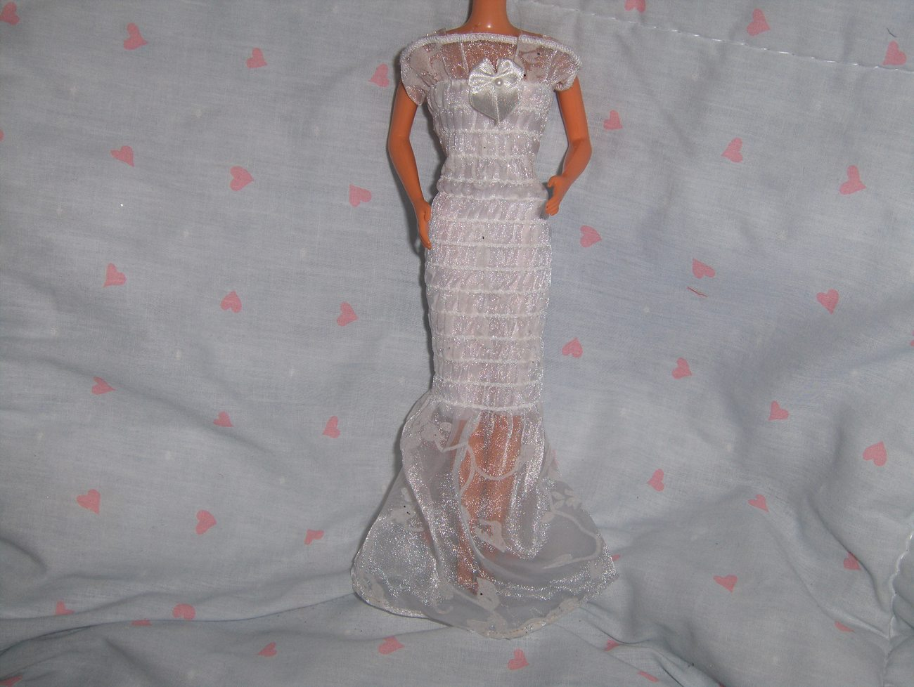 White Glitter Chiffon Smocked Dress fits Barbie and most Fashion Dolls