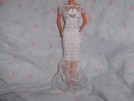 White Glitter Chiffon Smocked Dress fits Barbie and most Fashion Dolls - $5.95