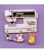 Ceramic Sewig Machine Pin Elna Quilters Edition Handcrafted - $14.95