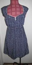 Urban Outfitters Johann UK navy blue white button front girly dress size... - £16.41 GBP