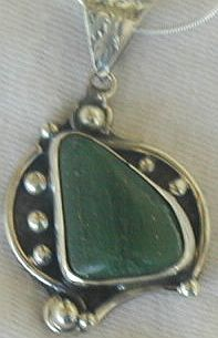 Green hand made pendant p7