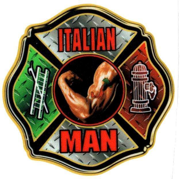 ITALIAN MAN -  Maltese Cross Highly Reflective Firefighter DECAL image 4
