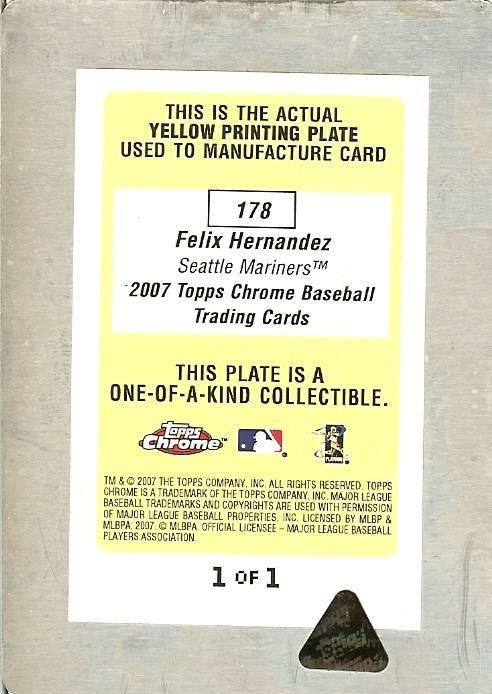 2007 topps felix hernandez seattle mariners printing plate 1/1 image 2