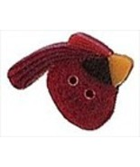 Tiny Mr. Cardinal 1193t handmade clay button .4... - $1.40