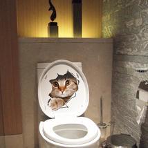 3D Broken Wall Kitten Doggie Wall Sticker Toliet Sticker Bathroom Decora... - $12.15