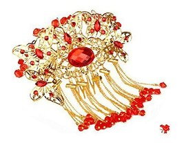 Amazing Traditional Chinese Wedding Gold Butterfly Tassels Hair Comb