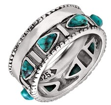 Silpada 'Trailblazer' Compressed Turquoise and Sterling Silver Ring Size... - $89.95