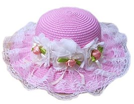 Summer Fashion Sun Hat For Kids With Flower Decor&Lace Pink