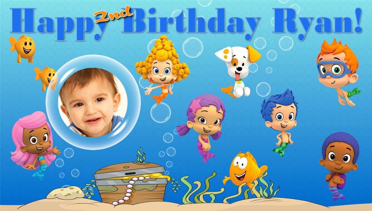 Bubble Guppies -Custom- Vinyl Birthday Banner Party Decoration -Blue w/ Photo