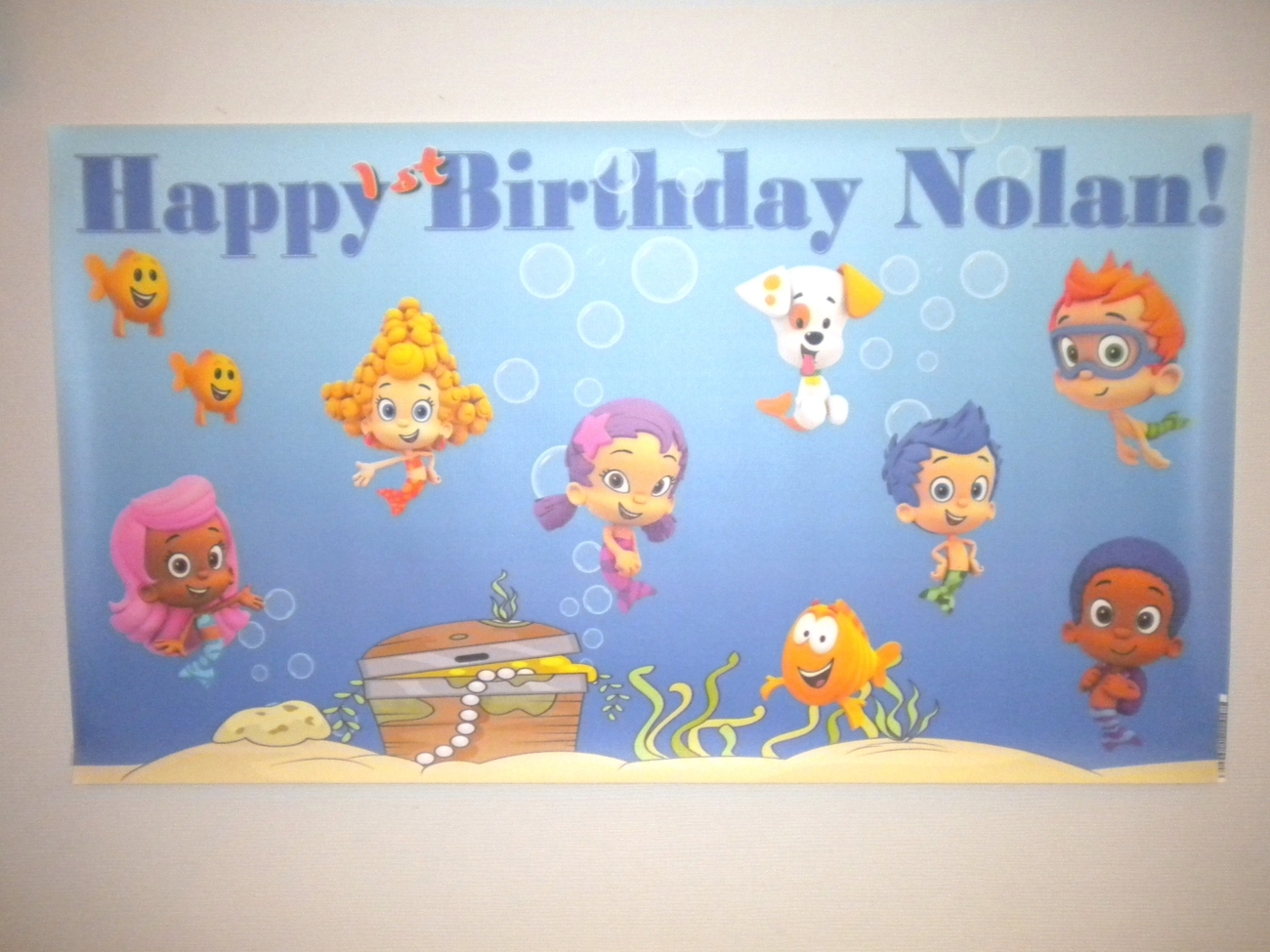 Bubble Guppies -Custom- Vinyl Birthday Banner Party Decoration -Blue w/ Photo image 2