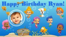 Bubble Guppies -Custom- Vinyl Birthday Banner Party Decoration -Blue w/ Photo image 5