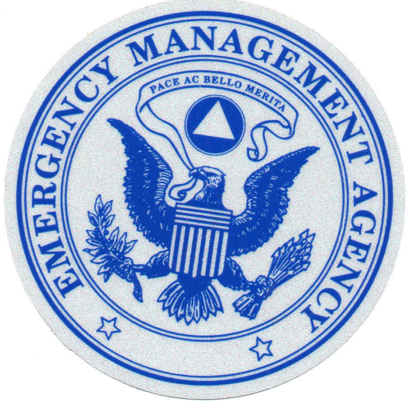 """EMERGENCY MANAGEMENT AGENCY HIGHLY REFLECTIVE DECAL 4"""" CIRCLE"""