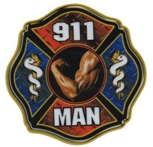 "911 MAN Full Color REFLECTIVE FIREFIGHTER DECAL - 4"" x 4"" image 4"