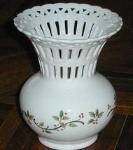 Mikasa Holiday Lace Holly Design Pierced Ceramic Vase - $8.00