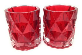 Set of 2 Yankee Candle Red Fractal Diamond Pattern Glass Votive Candle H... - $12.60