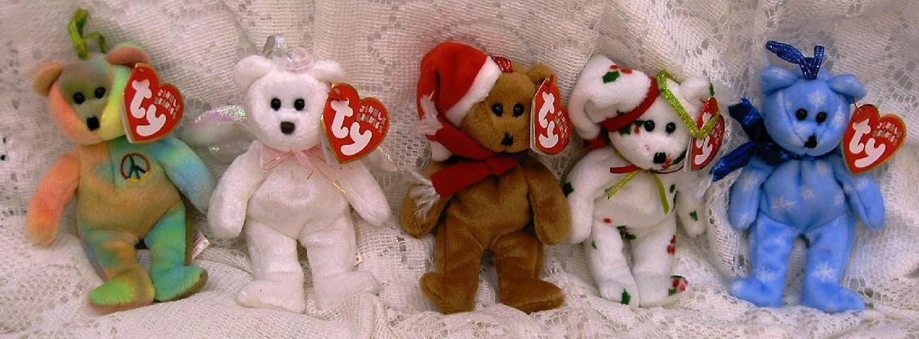 Ty Jingle Beanies 5 Plush Christmas Ornaments Peace Halo Holiday Teddy Ribbons
