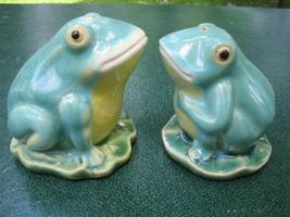 Vintage Frogs on Lily Pads S/P Salt and Pepper Shakers   - $17.00