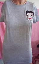 L Woman Junior Gray Betty Boop Embellished Embroidery Long Length Fited ... - $9.99