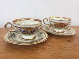 Pair Vintage Johann Haviland Bavarian Porcelain Demitasse Tea Cups Saucers - $63.99