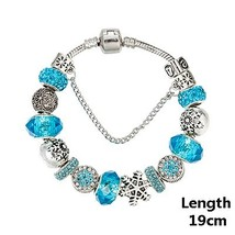 VIOVIA 2017 Fashion Snowflake Charm Bracelet & Bangle European Beads Bra... - $10.49