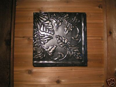 Antiqued Architectural Ceiling Tile FRAMED Wall Tin 12 by 12 BZ
